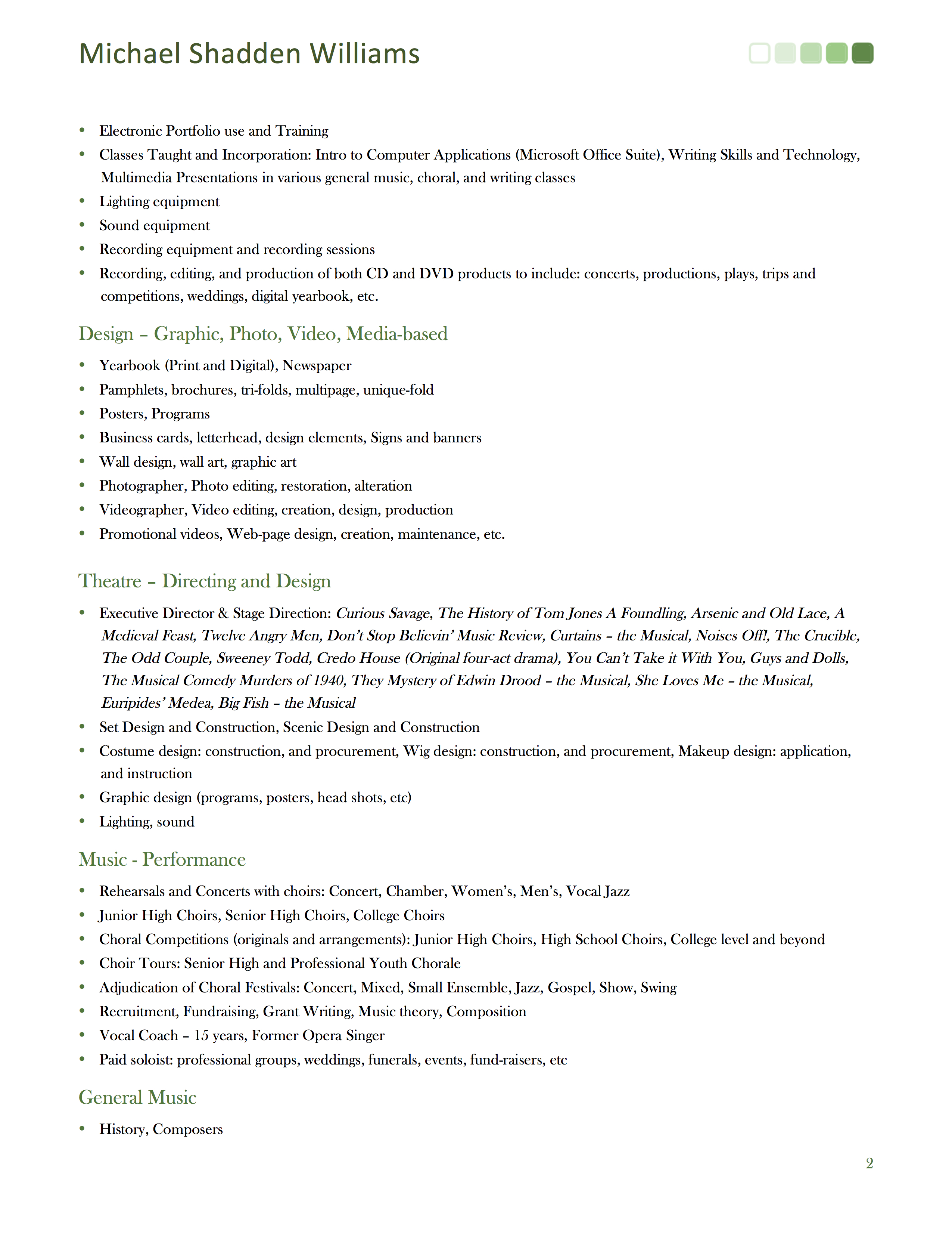 Michael S. Williams – Resume -